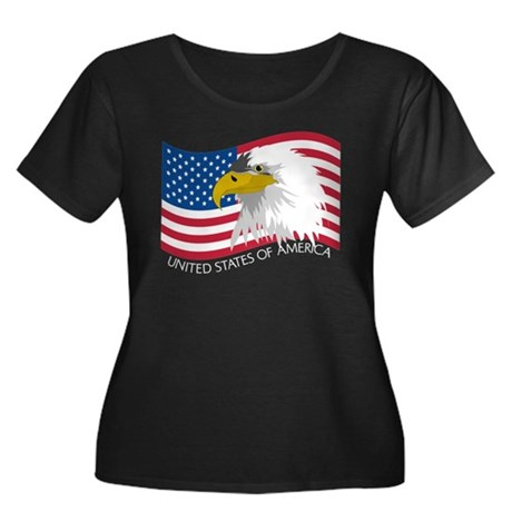 Bald Eagle Women's Plus Size Scoop Neck Dark T-Shi