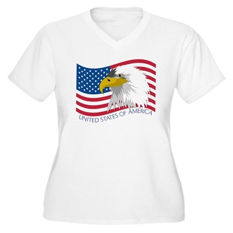 Bald Eagle Women's Plus Size V-Neck T-Shirt