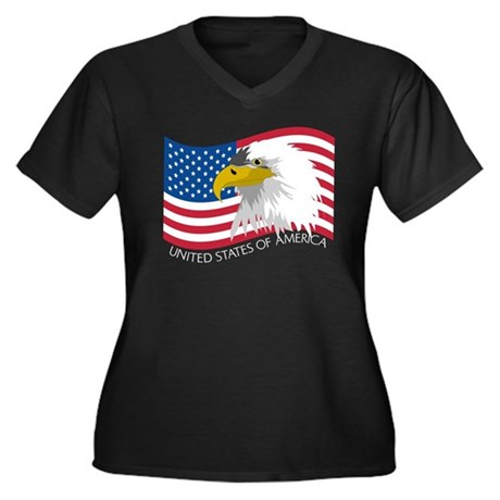 Bald Eagle Women's Plus Size V-Neck Dark T-Shirt