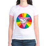 RAINBOW PEACE DOVE Jr. Ringer T-Shirt