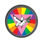 RAINBOW PEACE DOVE Wall Clock