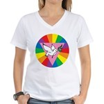 RAINBOW PEACE DOVE Women's V-Neck T-Shirt