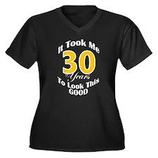 30 Years Old Women's Plus Size V-Neck Dark T-Shirt