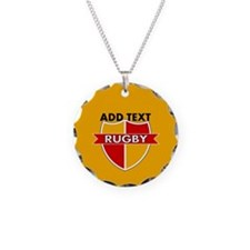 Rugby Crest Red Gold gldpz Necklace