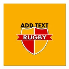"Rugby Crest Red Gold gldpz Square Car Magnet 3"" x"