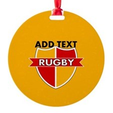 Rugby Crest Red Gold gldpz Ornament
