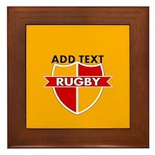 Rugby Crest Red Gold gldpz Framed Tile