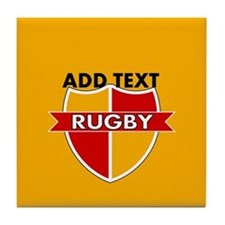 Rugby Crest Red Gold gldpz Tile Coaster