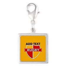 Rugby Crest Red Gold gldpz Silver Square Charm