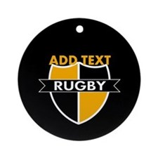 Rugby Crest Black Gold blkpz Ornament (Round)