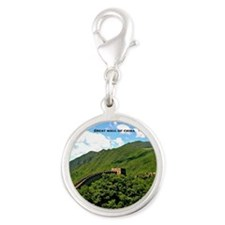Great Wall of China Silver Round Charm