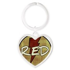 Red Lightning Heart Keychain