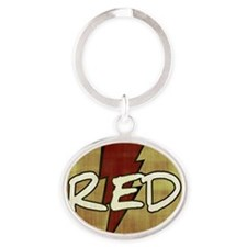 Red Lightning Oval Keychain