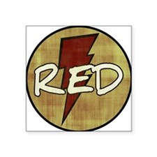"Red Lightning Square Sticker 3"" x 3"""
