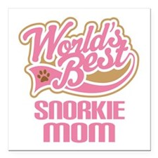 "Snorkie Dog Mom Square Car Magnet 3"" x 3"""