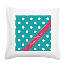 Personalized Name Polka Dots Square Canvas Pillow