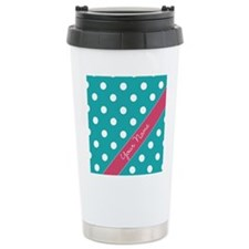 Personalized Name Polka Dots Travel Mug