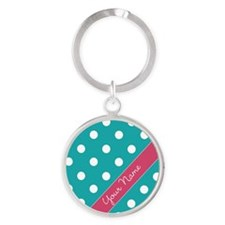 Personalized Name Polka Dots Round Keychain
