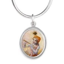 Darling Of Vrindavana Silver Oval Necklace