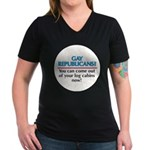 GAY REPUBLICANS? Women's V-Neck Dark T-Shirt