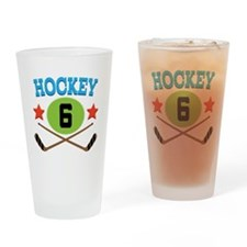 Hockey Player Number 6 Drinking Glass