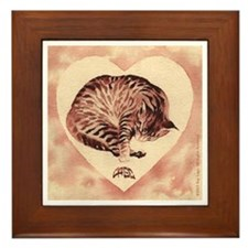 Heart-Shaped Kitty Framed Tile