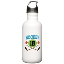 Hockey Player Number 18 Sports Water Bottle
