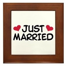 Just Married Wedding Framed Tile