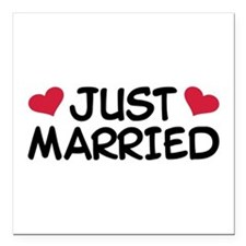 "Just Married Wedding Square Car Magnet 3"" x 3"""