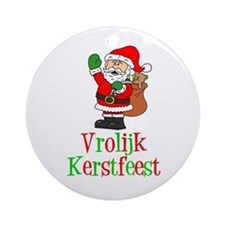 Dutch Christmas Santa Ornament (Round)