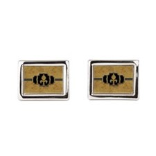 Gold Leaf Look Fleur de Lis Faux Vintage Cufflinks
