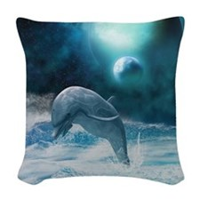 Freedom of dolphins Woven Throw Pillow