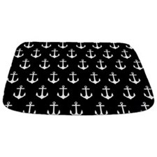 Black And White Anchor Pattern Bathmat