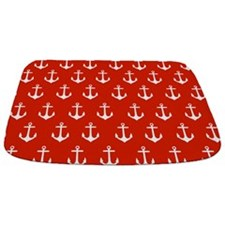 Bright Red Anchor Pattern Bathmat
