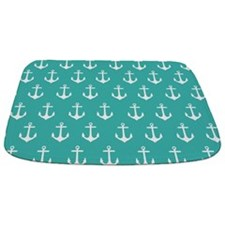 Turquoise Anchor Pattern Bathmat