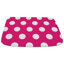 Large Hot Pink Polka Dot Bathmat