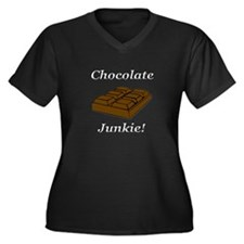 Chocolate Junkie Women's Plus Size V-Neck Dark T-S