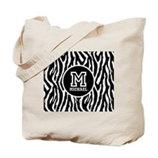Zebra Animal Print Personalized Monogram Tote Bag