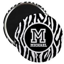 "Zebra Animal Print Personalized Monogram 2.25"" Mag"