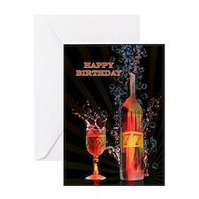 77th birthday card splashing wine Greeting Cards