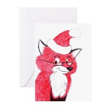 Santa fox Christmas cards (Pk of 10) Greeting Card
