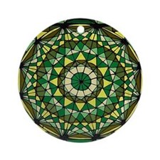 Stained Glass Geo Labyrinth Ornament (Round)