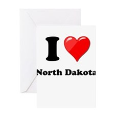 I Love North Dakota Greeting Cards