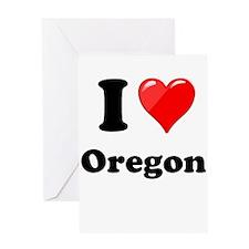 I Love Oregon Greeting Cards
