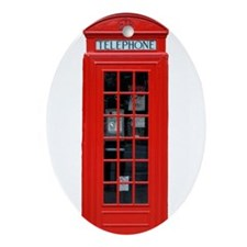 British Phone Box Ornament (Oval)