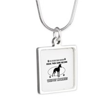 Whippet mommy designs Silver Square Necklace
