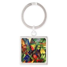 Foxes by Franz Marc Square Keychain