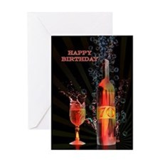 70th birthday card splashing wine Greeting Cards