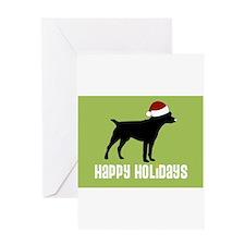 """Patterdale Terrier """"Santa Hat Greeting Cards (Pack"""