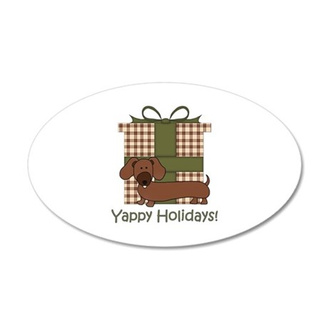 Yappy Holidays Dachshund and Gifts 20x12 Oval Wall